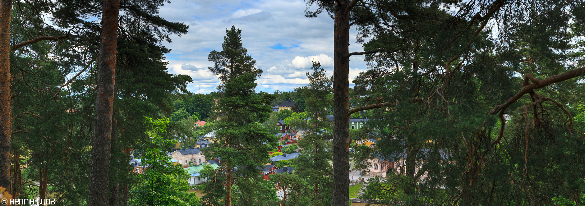 Panoramic view over part of old town of Porvoo. Cultural landscape of Finland. June 2014.