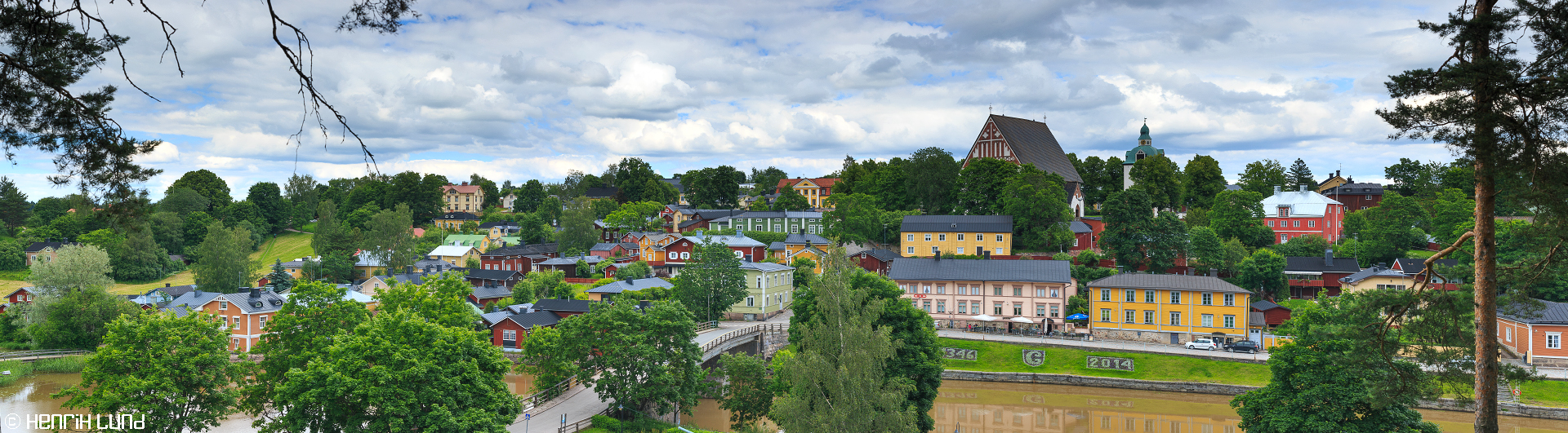 A panoramic over old town of Porvoo in southern Finland - one of Finlands cultural landscapes. Porvoo, Finland, June 2014.