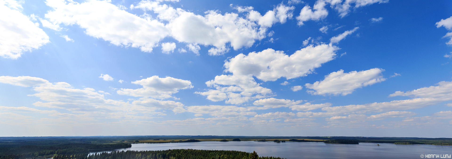 Panorama view looking northwest from water tower in Ilomantsi, Northern-Carelia region, Finland. August 2014.
