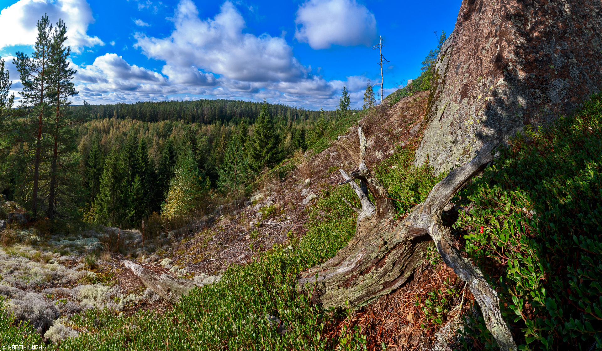 Panoramic view from Falkberget in Norrby, Lappträsk, Finland, September 2014.