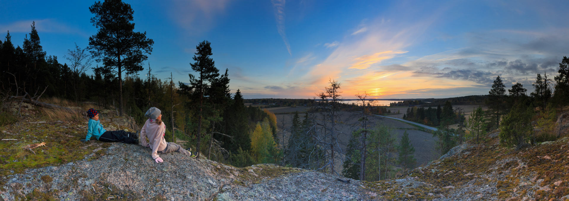 An autumn panorama shot from Högberget in Norrby, Lappträsk, Finland, October 2014.