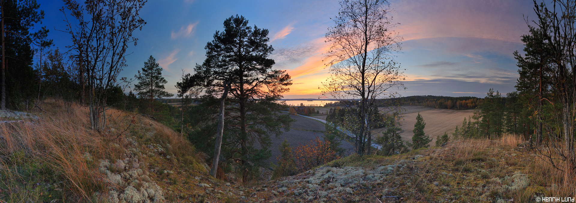 Panoramic view from Högberget in Norrby, Lappträsk, Finland, October 2014.