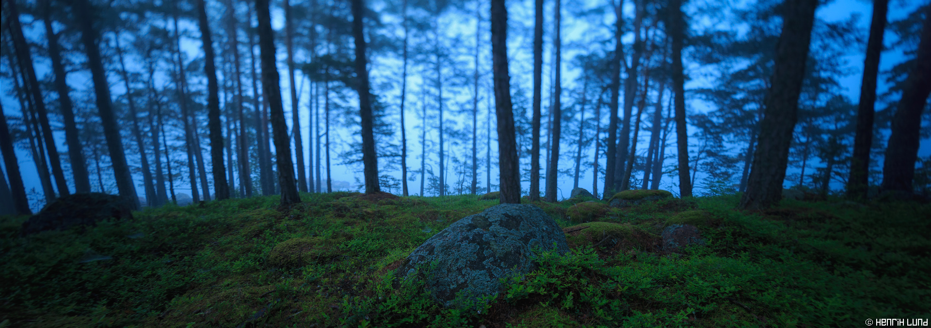 Misty midsummer night panorama taken with TS-E -technique. Bodö, Porvoo archipelago, Finland, June 2015.