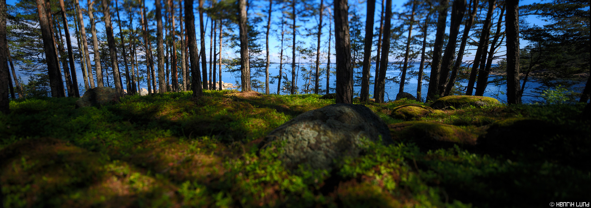 Tilted and shifted sunny midsummerpanorama taken at Bodö in Porvoo archipelago, Finland, June 2015.