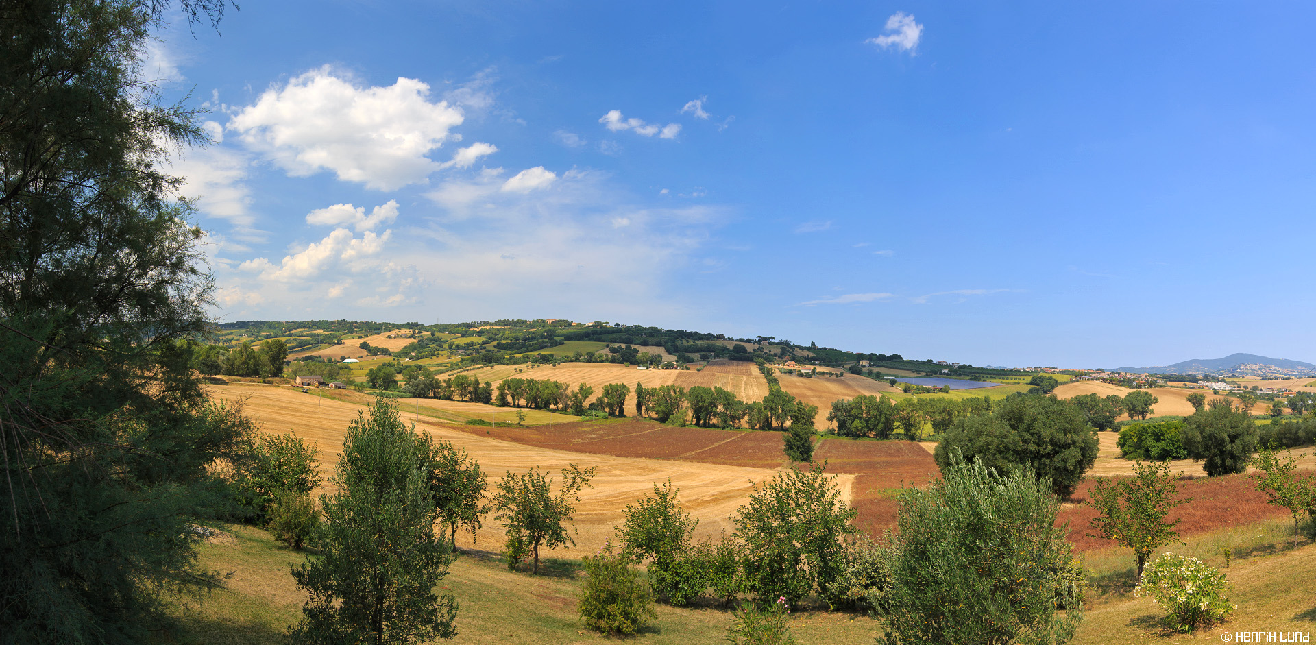 Panoramic view from the hills of Osimo, Marche, Italy to the east. July 2015.