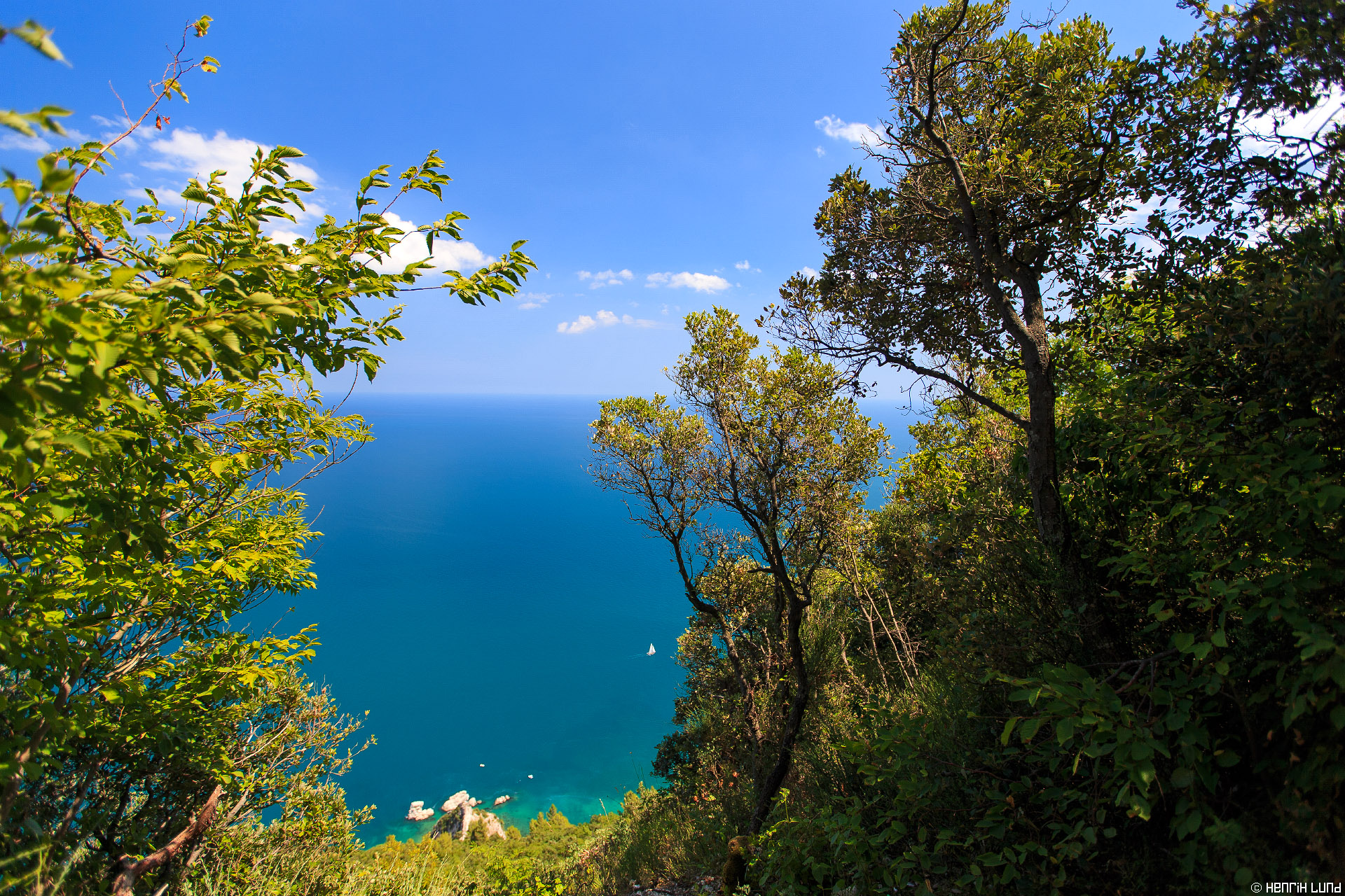 Seaview over the Adriatic Sea from 'Parco del Conero' in Marche, Italy. July 2015.