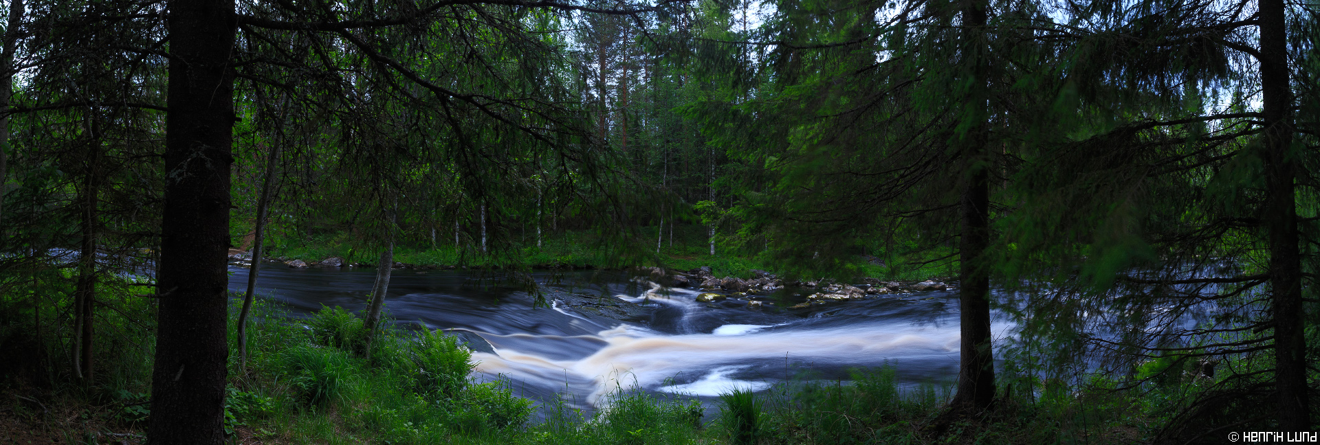 Koitajoki river at Vekarus rapids in Northern Carelian region in Joensuu, Finland. June 2015. Lee Big Stopper used for long exposure. Panorama stitched of 3 images.