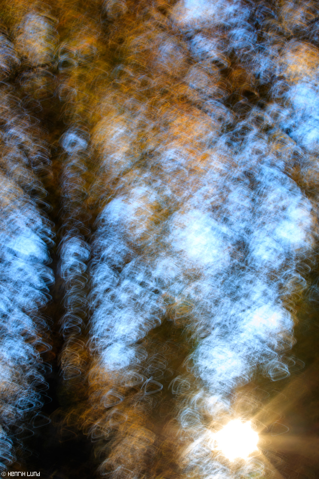 Camera movement made during exposure to create a abstract visualization of autumn light. Lappträsk, Finland, October 2015.