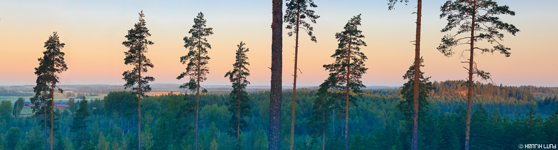 Morning panorama over Porlom, Lappträsk, Finland. August 2015.