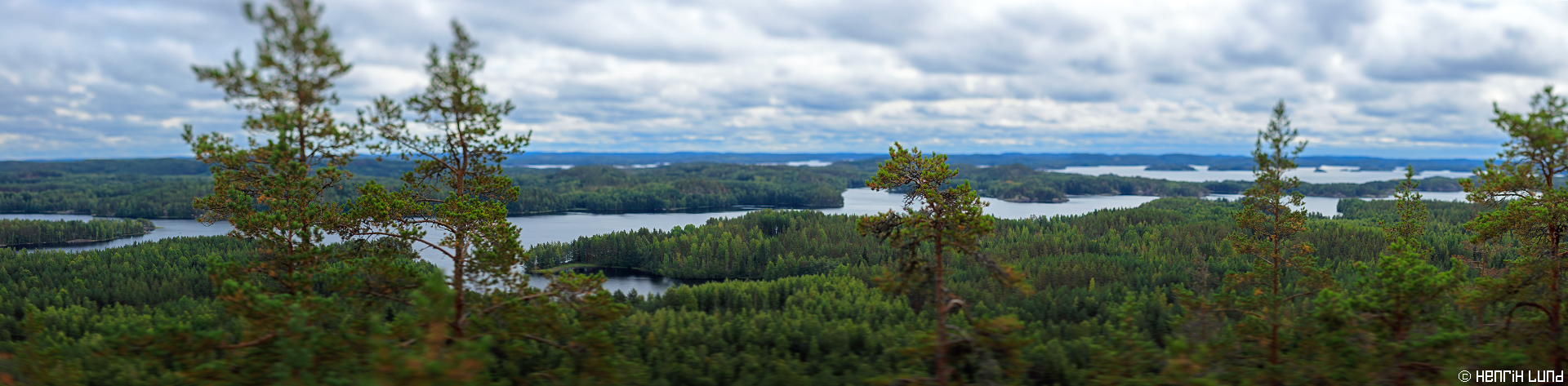 Panorama landscape from Neitvuori, Mikkeli in Southern Savonia region, taken with tilted TSE-lens and panoramic nodal shift. September 2015.