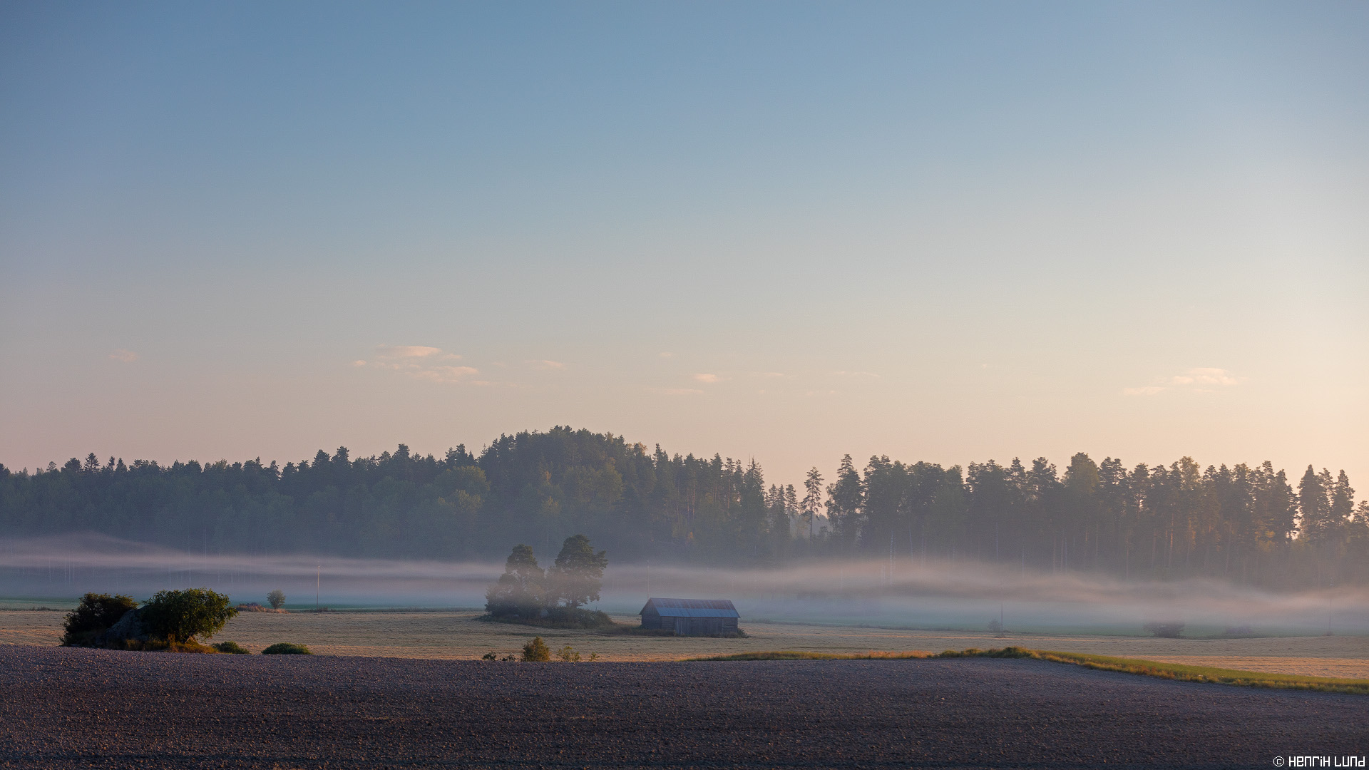 Morning landscape. Porlom, Lappträsk, Finland. August 2015.