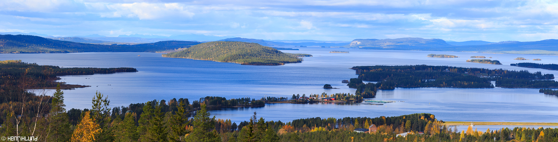 Panoramic view from 'Utikten' in Storuman, Sweden. October 2015.