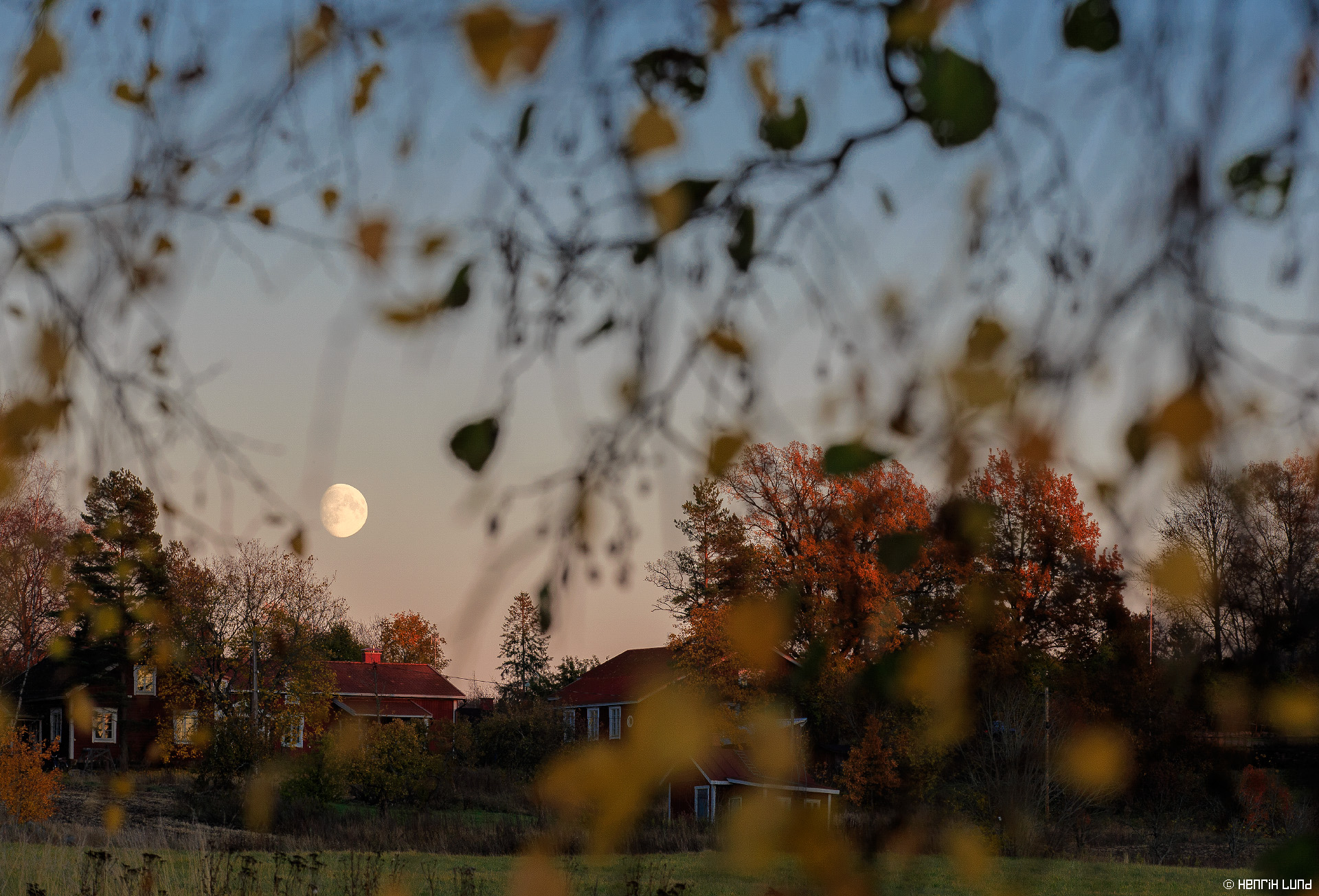 Moon rising over beautiful Marieberg Gård in Lappträsk, Finland, October, 2105.