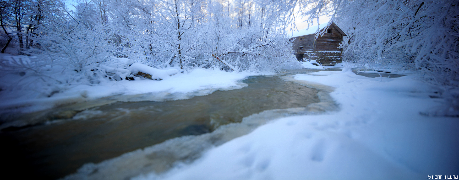 Old mill at Forsby river in Porlom, Lappträsk, Finland. January 2016. TS-E tilted and shifted for panorama.