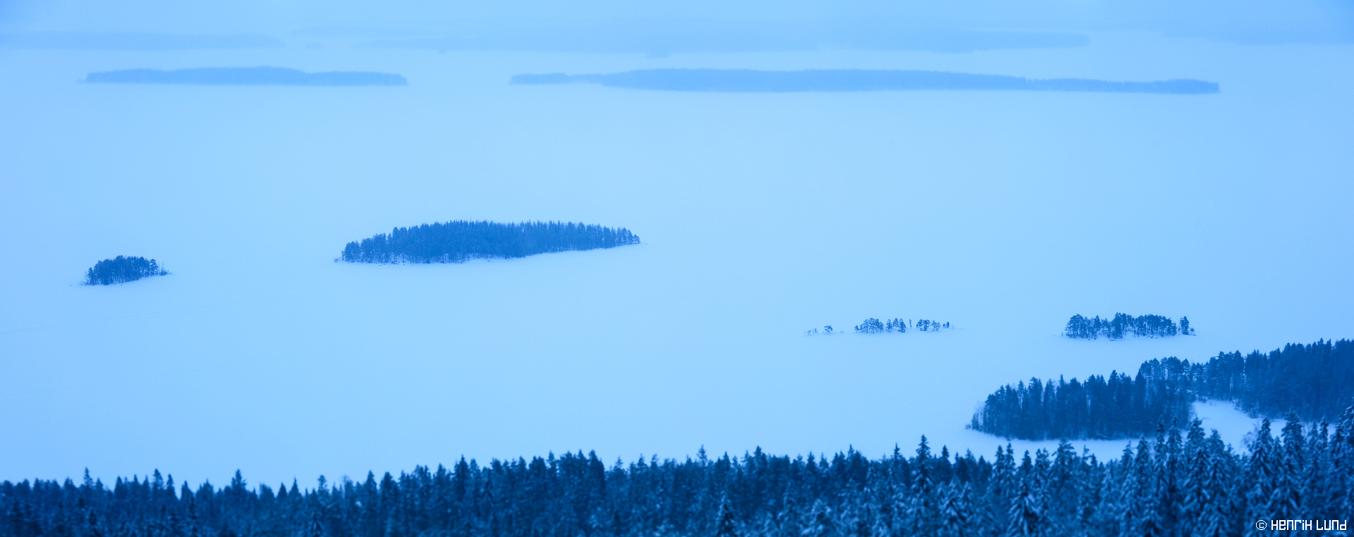 Panoramic view over Pielinen from Koli, Lieksa, Finland. February 2016.