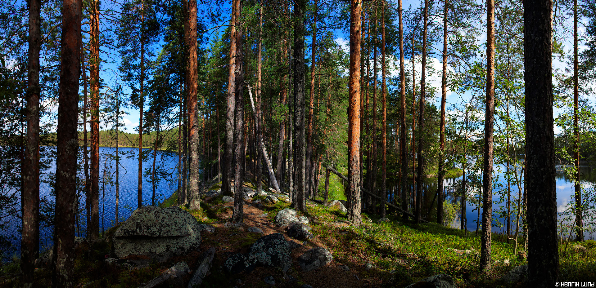 Handheld panorama taken in Petkeljärvi National park, Ilomantsi, Finland. August 2016.