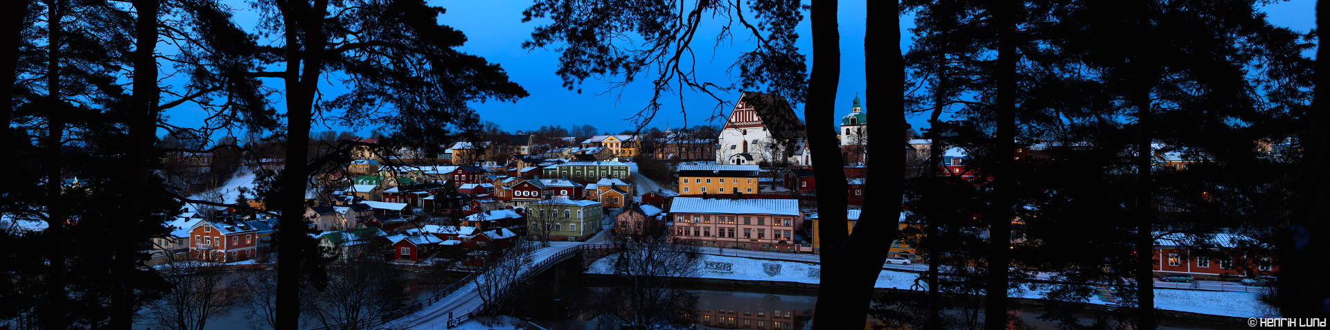 Snowroofs over old town in Porvoo, Finland. November 2016.