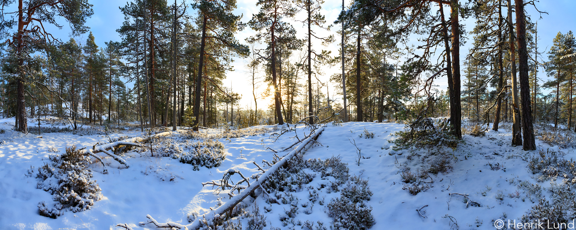 Winter panoramic view over Gamlasberget, Lappträsk, Finland. December 2016.