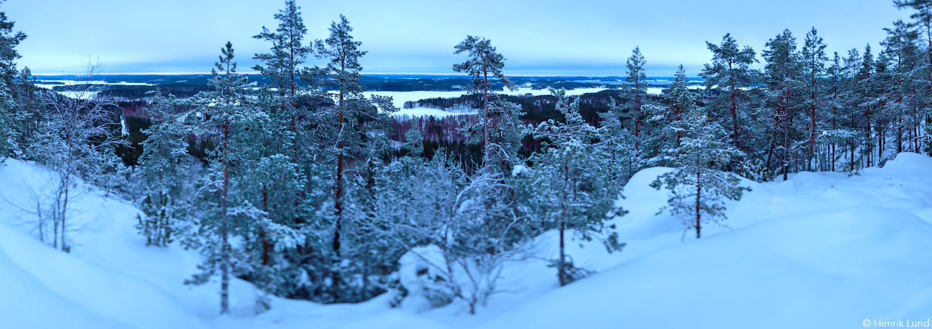 Panoramic prewinter shot from Neitvuori in Anttola, Finland. December 2016.