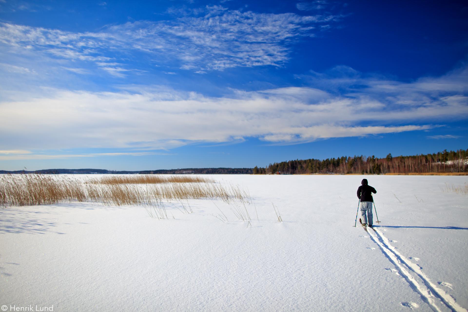 Skier crossing the lake on trekking-skis. Lappträsk, Finand. February 2017.
