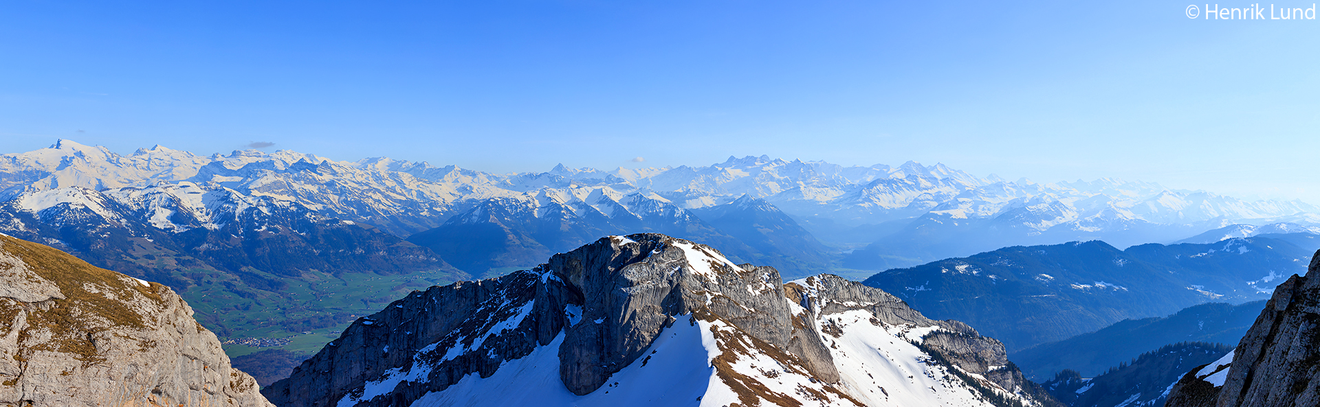 View from top of mount Pilatus in Lucerne, Switzerland, towards Matthorn and Jungfrau. April 2018.