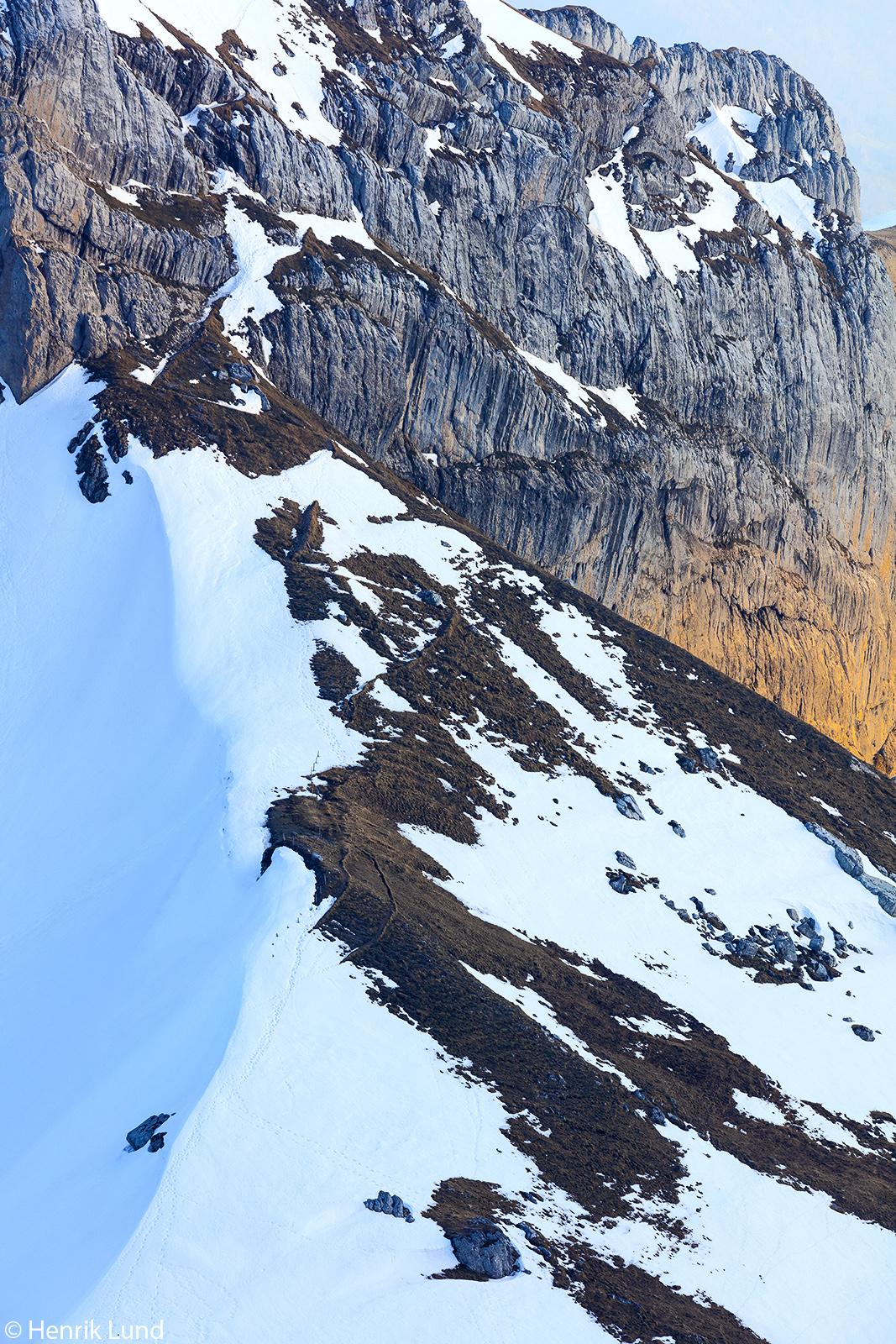 Mount Matthorn seen from mount Pilatus in evening light. Lucerne, Switzerland. April 2018.